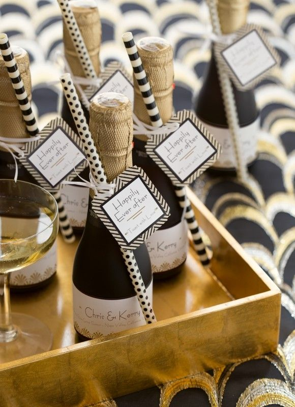 These pretty, petite champagne bottles make lovely bridal shower favors. Just personalize Avery Square Tags (22849) and Wraparound Labels (80506) for free at www.avery.com/print.