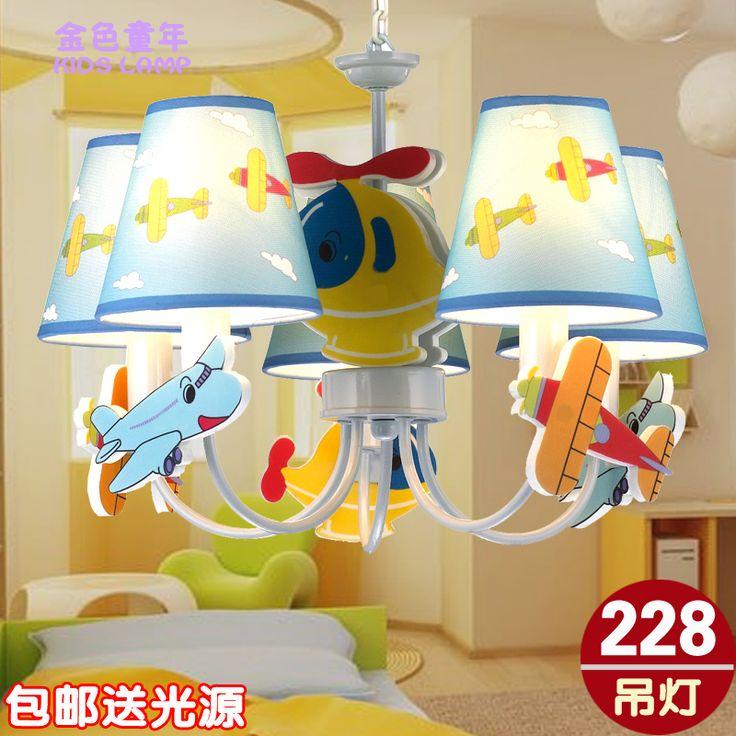 Детский мультфильм самолет люстры потолочные спальня исследование люстра Светодиодная лампа Творческие освещения дома