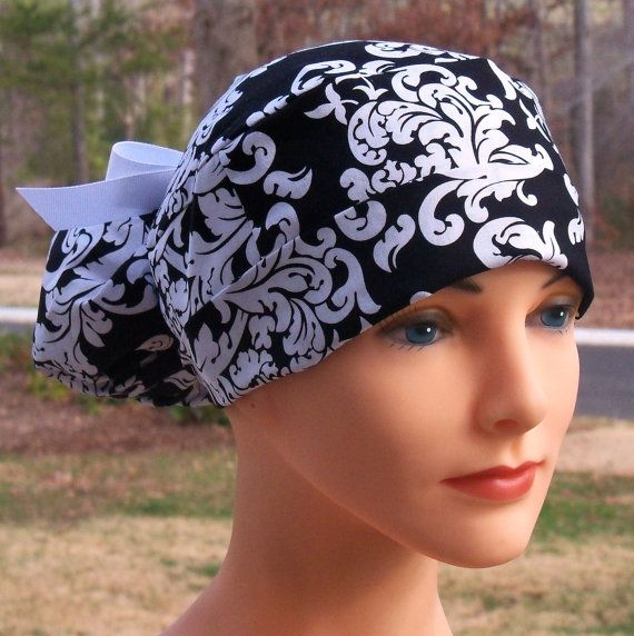 Womens Perfect Fit Ponytail Surgical Scrub Hat Cap Black
