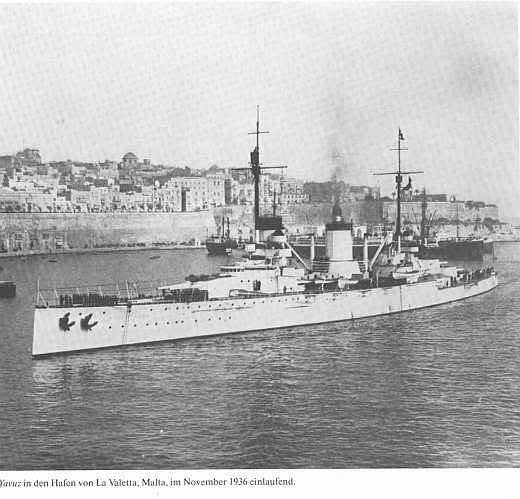 11 in Turkish battlecruiser Yavuz at Malta in 1936: this was the former German Goeben (Moltke class), whose arrival at Constantinople and transfer to the Turkish navy in 1914 played such a significant part in Turkey's entry into WW1.  Here she is very little changed.  She survived until 1970, last of the dreadnought era bar the surviving USS Texas.