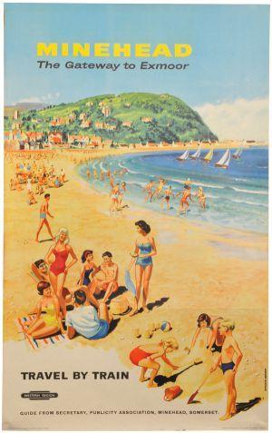 Minehead, Exmoor, England vintage beach travel poster