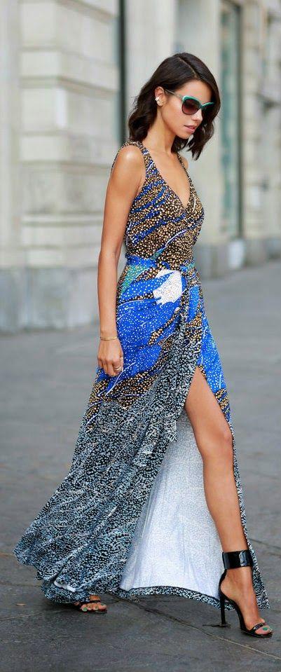 Street style / karen cox. VIVALUXURY FASHION - Multi Mix Print Silk Wrap Maxi Tank Dress