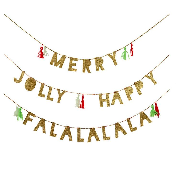 Holiday Party Garland Merry, Jolly, Happy and Fa La La La La, each letter embellished with gold glitter.