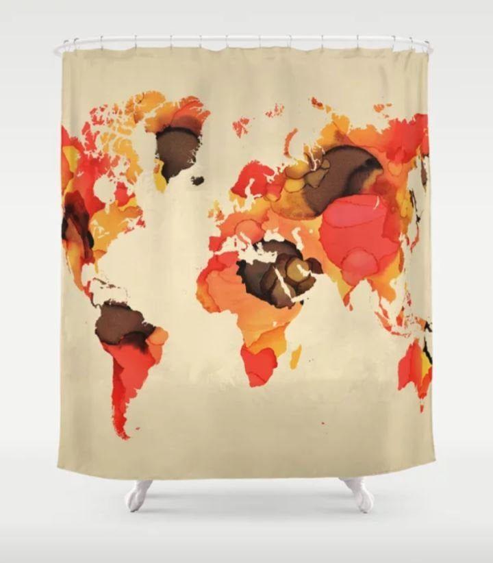 Shower Curtains World Map Shower Curtain Beige Orange Shower