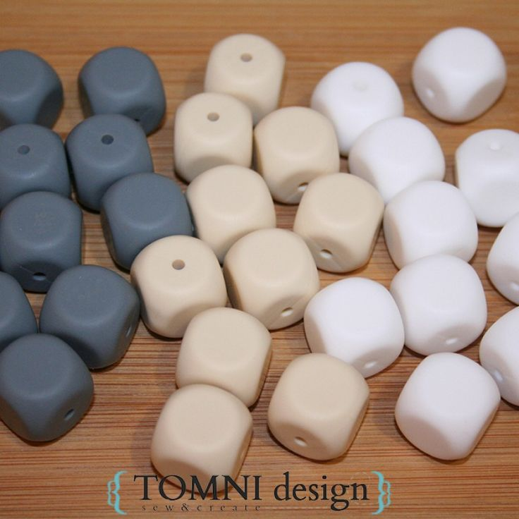 Make your own silicone necklaces Cube Grey Silicone Beads and many other colours available in store