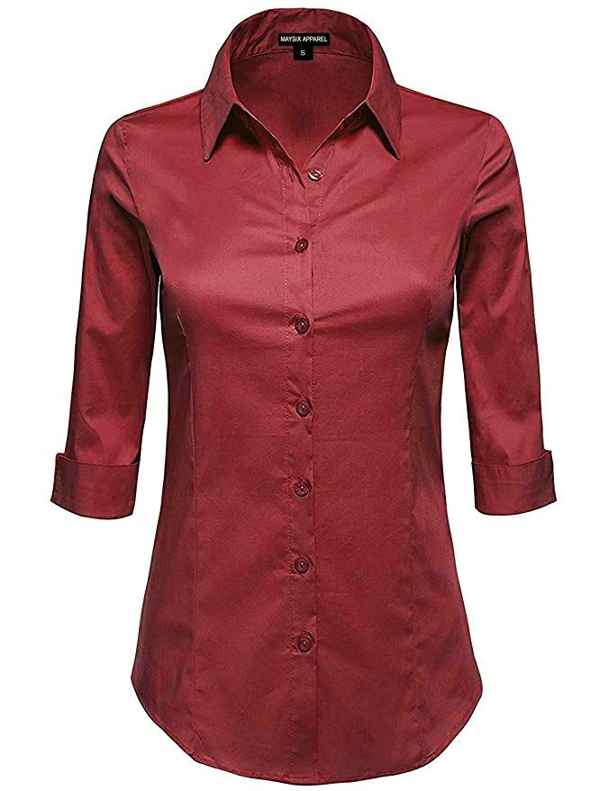 783d96ab19c3f2 Amazon.com: MAYSIX APPAREL 3/4 Sleeve Stretchy Button Down Collar Office  Formal Casual Shirt Blouse for Women Fit (XS-6XL): Clothing