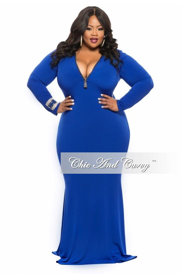 New Plus Size Bodycon Gown with Front Gold Zipper in  Royal Blue - Chic And Curvy