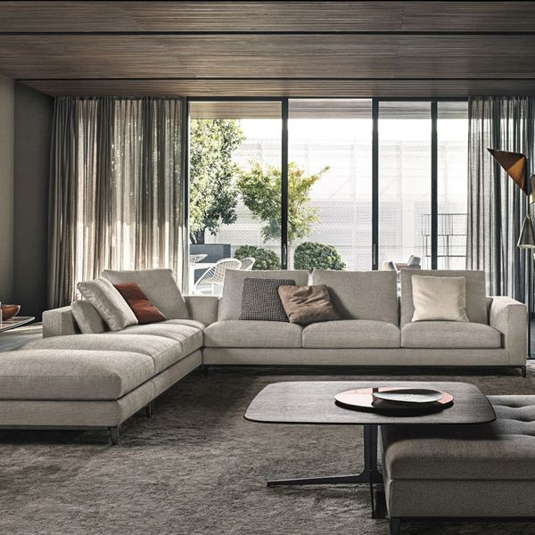 This modern sofa series, Anderson collection by Minotti sits elegantly on slender cast metal feet in pewter colored finish. The slight inclination of the seat and the inviting softness of its cushions, the Anderson provides the most comfort in style. The ideal qualities of both design and construction of the [...]