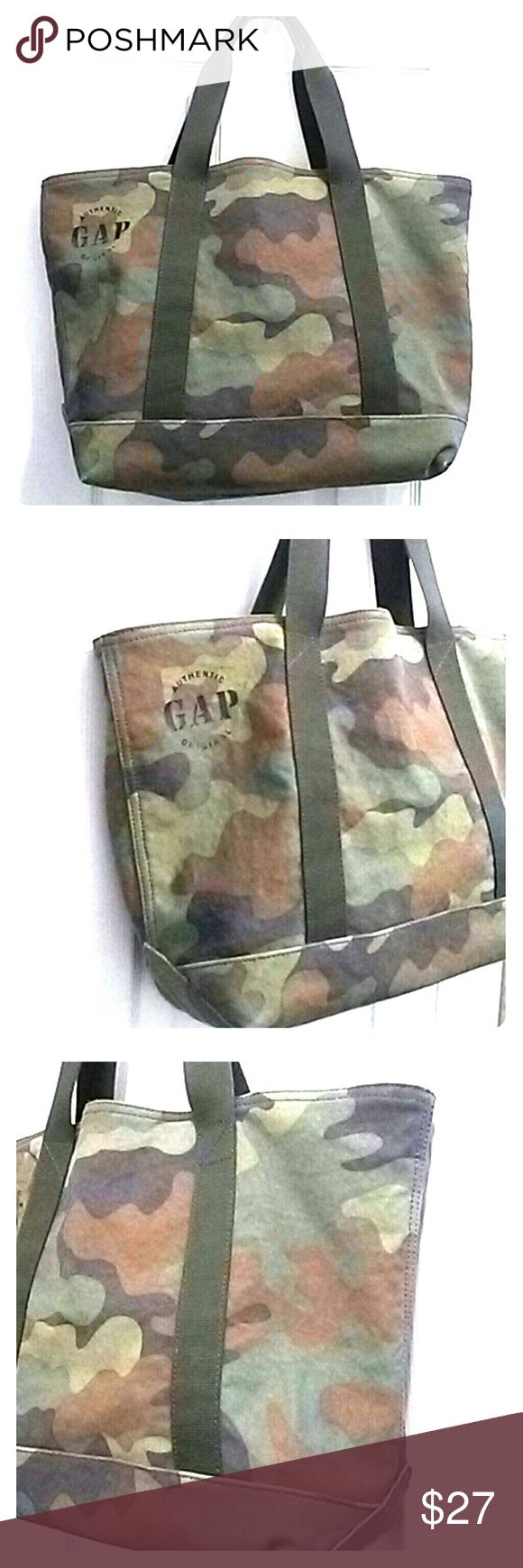 GAP Men's Camo Canvas Tote Bag Camo print thick canvas bag w/thick canvas army green straps. Durable. Cream colored inaide. PRISTINE comdition! Like brand new... GAP Bags