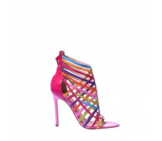 Strappy rainbow kidskin Baldinini sandal