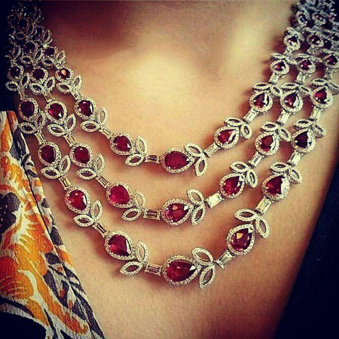 @thejewellcloset Stunning Diamond & Ruby three layered Necklace .