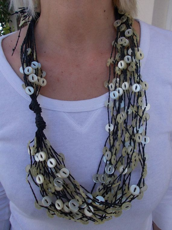 Necklace with ivory buttons by TzoFeltGood on Etsy, €85.00