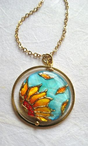 sunflower necklace painted by hand on mother of pearl sunflower pendant, sunflower jewelry #sunflowernecklace #sunflowerjewelry #turquoisejewelry