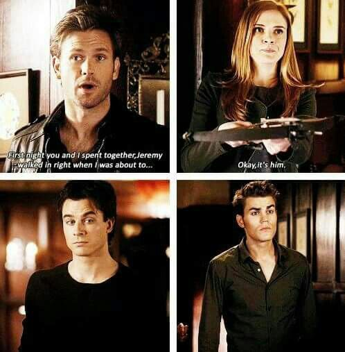 This scene.. !Jenna and Alaric's relationship seems so long ago now... I really loved them together.  I love stefan and Damon's Reaction in this!