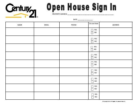 Century 21 themed open house sign in sheet open houses for Realtor open house sign in sheet template