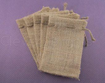 "50 - 3x5 Small Burlap Bags - Natural Rustic Burlap Bags with Natural Jute Drawstring for Showers Weddings Parties Receptions - 3"" x 5"""