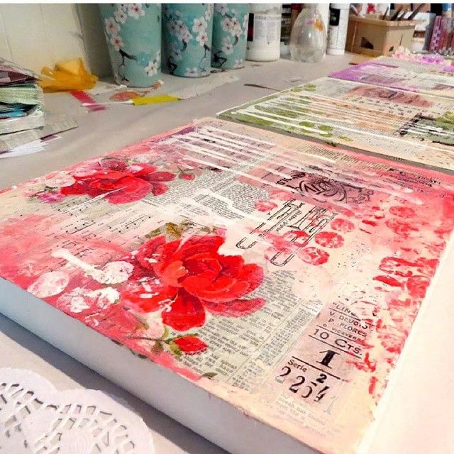 The next layer drying on the mixed media backgrounds.  Love this part of the…
