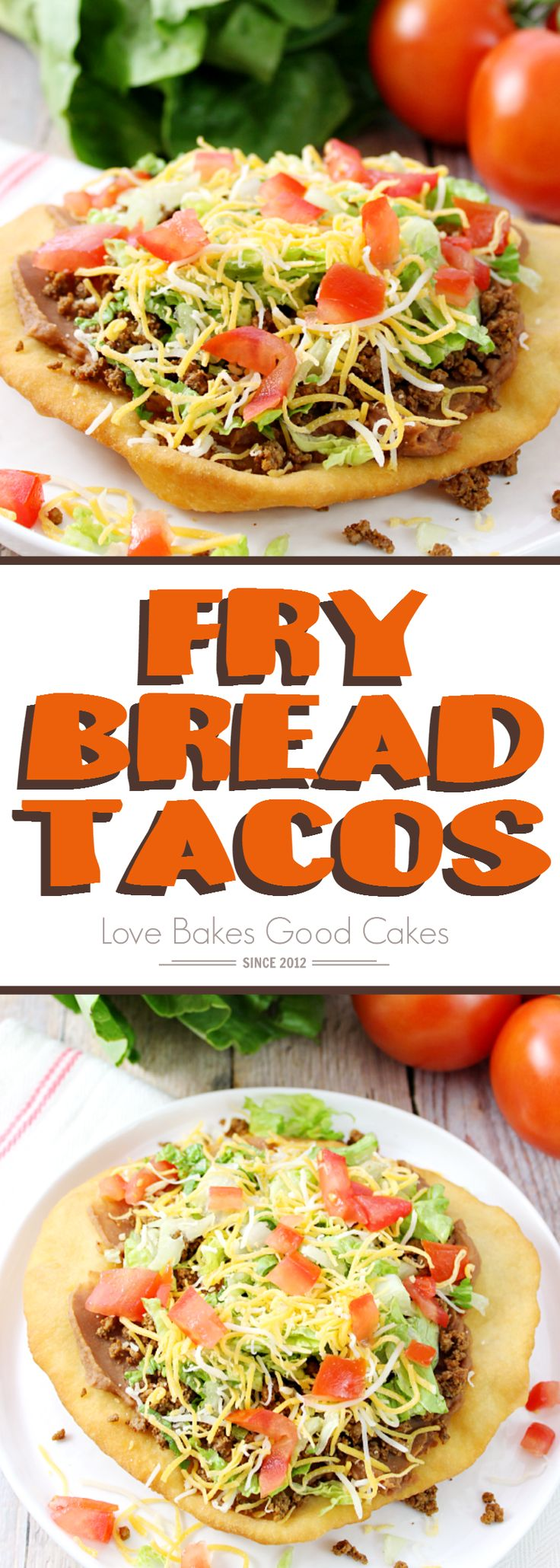 Change up your boring dinner routine with this easy recipe for Fry Bread Tacos (aka Navajo Tacos). A quick and simple bread dough is quickly fried and then topped with your favorite taco toppings!: