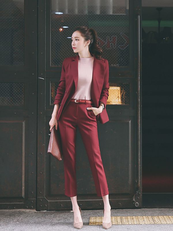 Wholesale Office Lady Trim Collar Fitted Long Pant Women Suit OFG011149 | Wholes…
