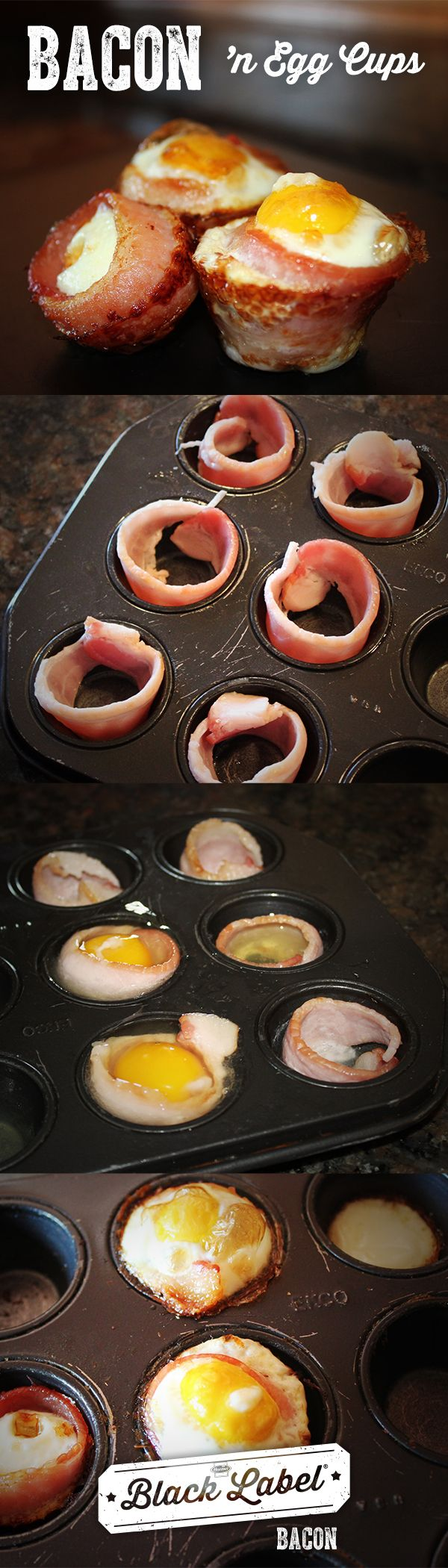 Bacon 'n Egg Cups | How-to | How to add eggs to your bacon. | Bacon breakfast recipe. | Black Label® Bacon