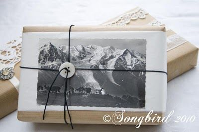 Gift wrapping ideas with a vintage flair. Brown craft paper, and a vintage winter postcard combined with some twine and a button make the perfect Xmas gift wrap. See more details at http://www.songbirdblog.com