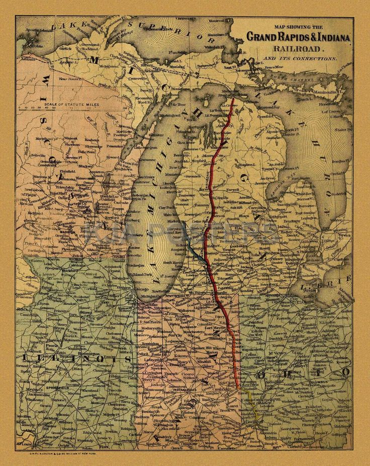Railroad Train Historic Map Michigan 1871 13