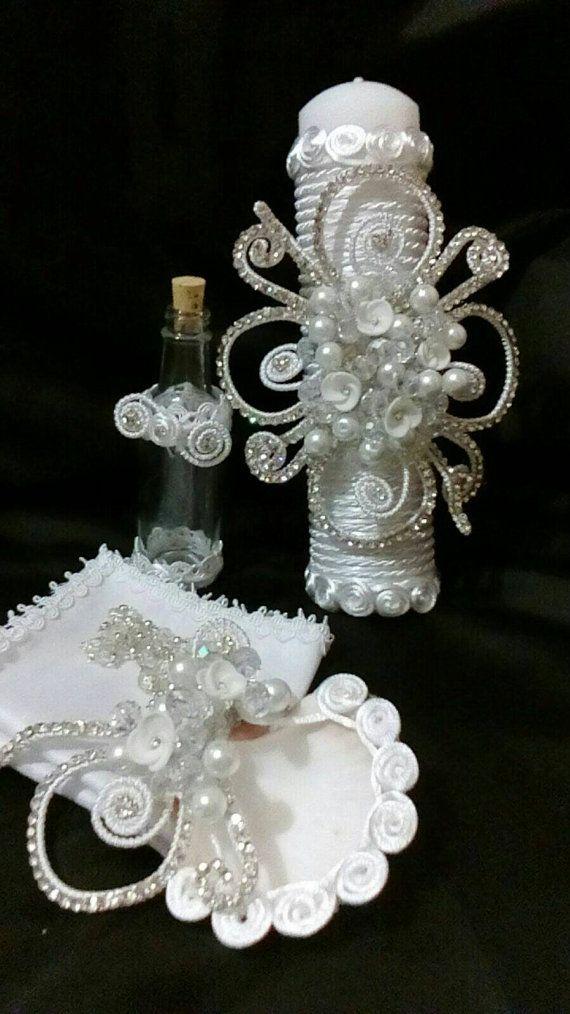 Baptism candle set, christening candle, hermosa vela para bautizo en set, vela, concha, toalla, rosario y botella para agua bendita, cristal