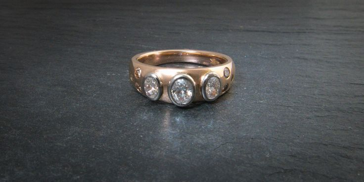 18ct rose gold and diamond ring with cognac diamond shoulders