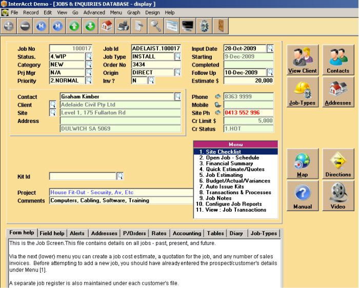 http://www.interacct.com.au  Screen view of the jobs and enquiries database within the job costing software