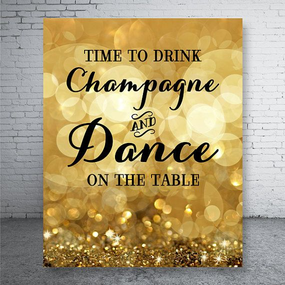 Time to Drink Champagne Shiny Gold Glitter  Party by CustomBazaar, $4.90