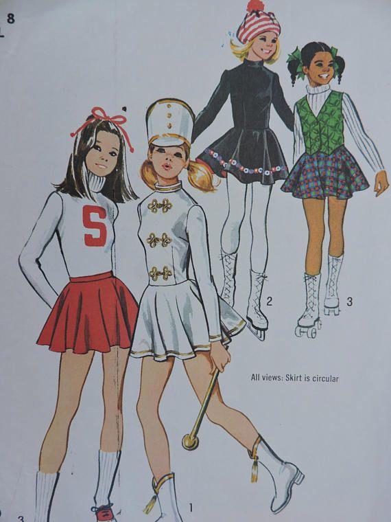 Cheerleader Drum Majorette & Skating Costume Vintage 1972