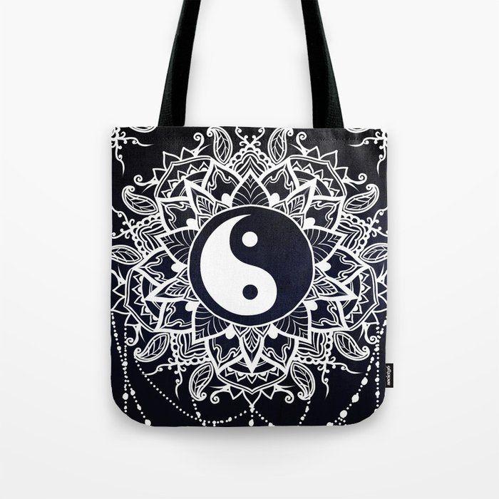 Ornamental calligraphy mandala shopper bag