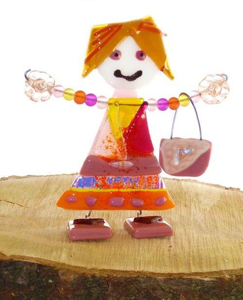 Handgemaakte meisje met handtas van luxe en kleurrijke glassoorten!