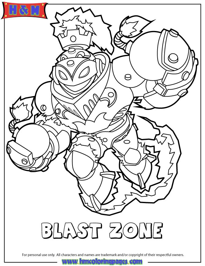 skylanders swap force fire blast zone coloring page