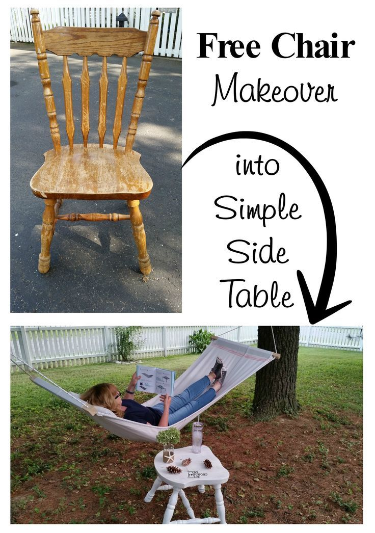 A FREE old chair is the perfect furniture to repurpose. This chair side table is great for outdoors by the drop cloth hammock or porch swing.