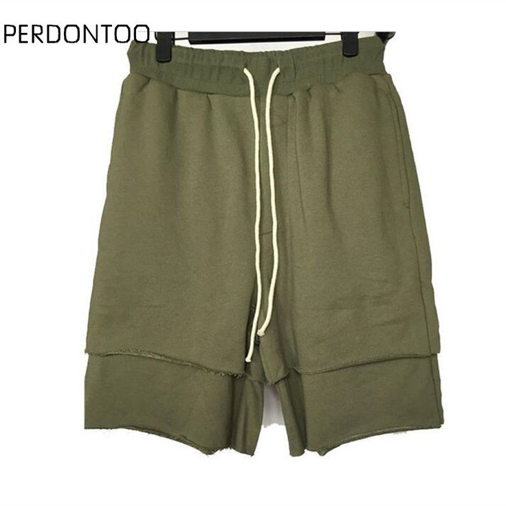 streetwear hip hop dance clothes stage clothing for men black/green short mens stretch cotton sweat jogger shorts