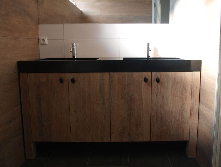 Badkamermeubel Dubbele Wasbak : look massief eiken badkamermeubel met ...