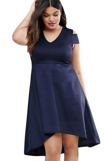 Navy Blue Exposed Shoulder Plus Size Skater Dress https://www.modeshe.com #modeshe @modeshe #Navy