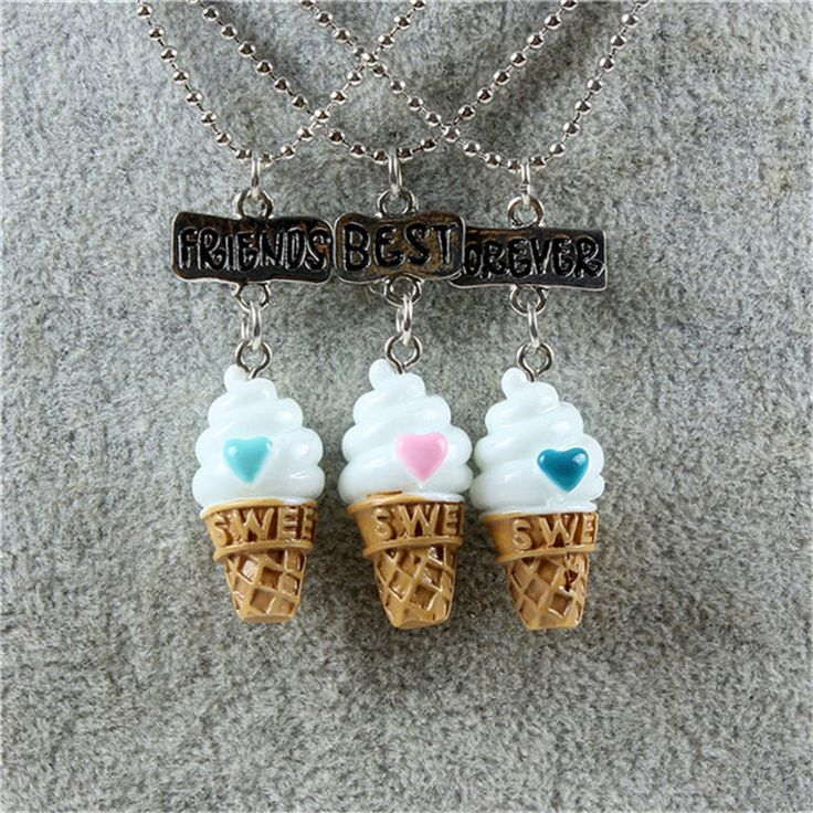 Best Friends Forever Cute Food Ice cream Pendant Necklaces Friendship Creative Keepsake For Kids Gift 3 pcs/lots