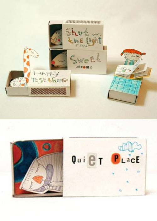 Matchboxes with a little message -- what a fun craft idea! (give the kids a little something/ a little someone of their own to tuck in at night)
