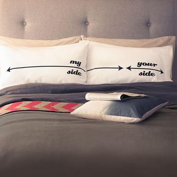 'My Side Your Side' Pillowcases by TWISTED TWEE HOMEWARES
