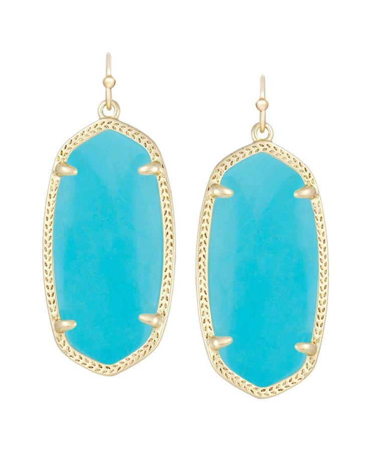 Elle Gold Earrings in Turquoise - Kendra Scott Jewelry.