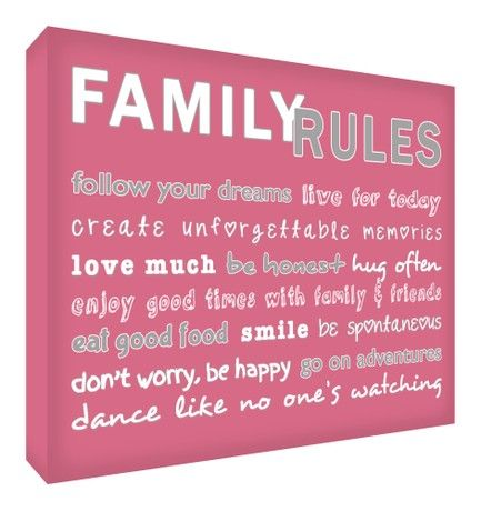 Feel Good Art A6 Diamond Polished Acrylic Block (14.8 x 10.5 x 2 cm, Vintage Pink, Family Rules)