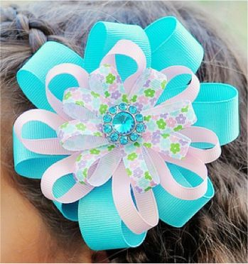 Flower Ribbon Hair Bows at TheFrugalGirls.com #ribbon #hairbows #barrettes