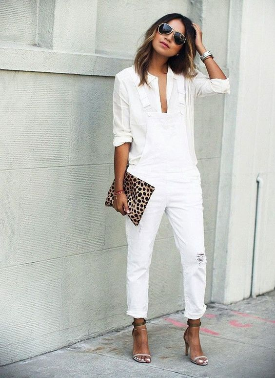Crushing on this all-white outfit featuring distressed white overalls and a casual button-down.
