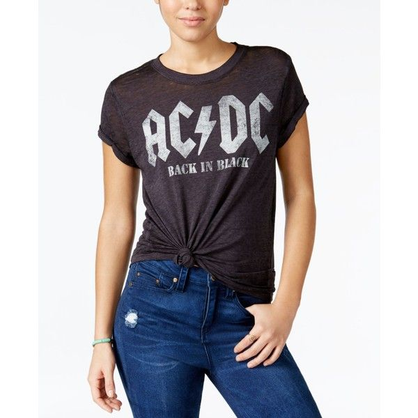 Goodie Two Sleeves Juniors' Ac/Dc Graphic Burnout T-Shirt (€22) ❤ liked on Polyvore featuring tops, t-shirts, black, graphic design tees, burnout tees, graphic print t shirts, graphic t shirts and graphic design t shirts
