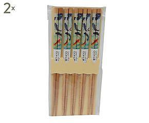 10 Paires de baguettes ninji bambou, multicolore - L23
