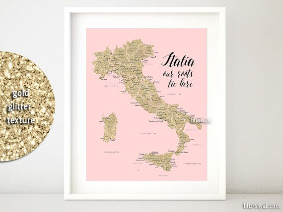 16x20 Printable map of Italy taly map with cities von blursbyaiShop