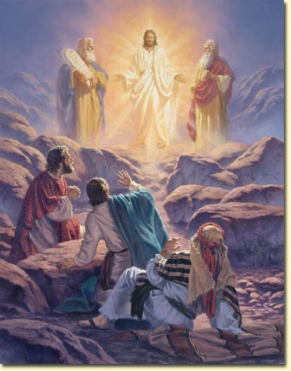 Transfiguration of Christ - The account is in Matt 17:1-13,  Mark 9:2-13. with Jesus are Moses and Elijah and the disciples are Peter James and John.