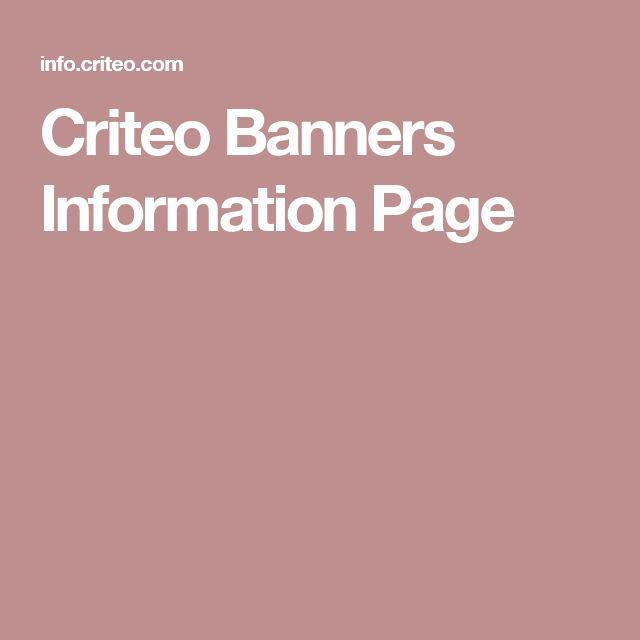 Criteo Banners Information Page